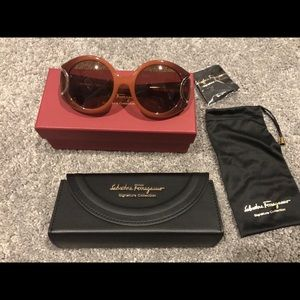 Salvatore Ferragamo Orange Gradient Sunglasses NWT